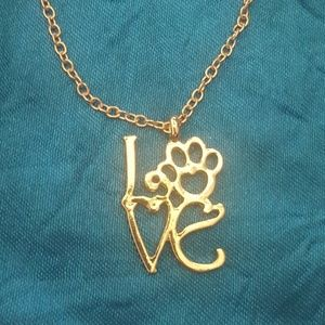 WILA Jewelry - 14k Gold-plated Paw Print Love Necklace