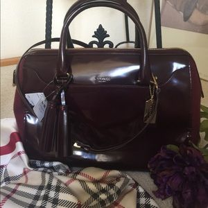 Luxurious COACH Burgundy Patent Deluxe Bag