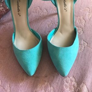 Breckelles Shoes - Turquoise heels