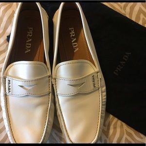 Men's PRADA white slip-in loafers (2DD 001)