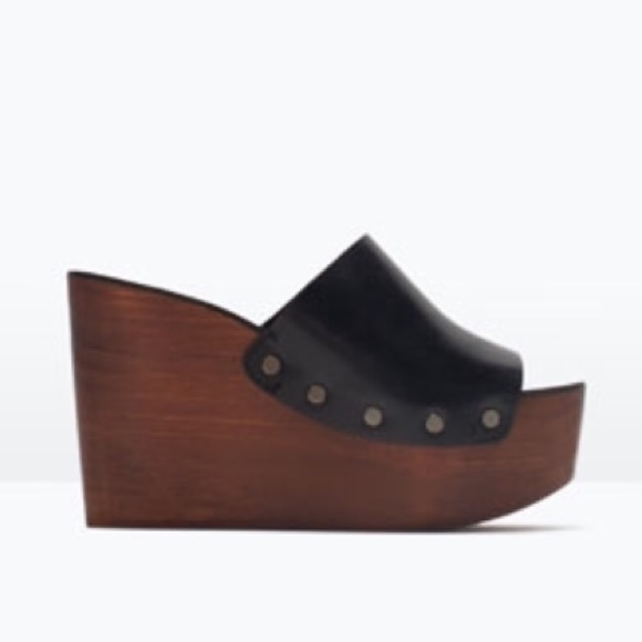 8d1e01debe0 Zara - wood   leather wedges with L 7.5 and R 8 Us