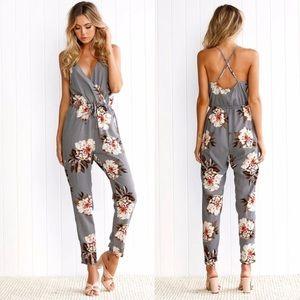 Pants - Gray Floral Jumpsuit