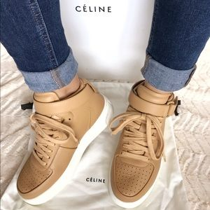Cline Tan Leather Hightop Sneakers