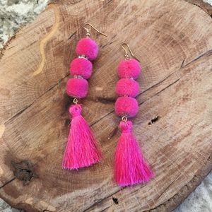 Jewelry - 🆕 Triple Pom Pom & Tassel Dangle Drop Earrings