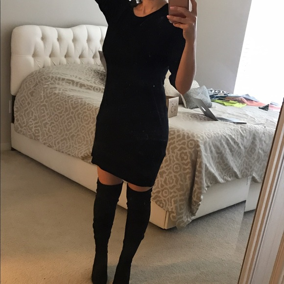 lace up in sneakers best loved Black t shirt dress great with thigh high boots