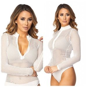 Tops - •LAST 3 White Fishnet Front Zip Up Bodysuit