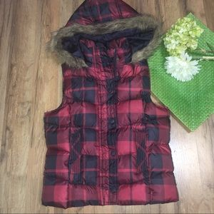 Arizona Jean Company Jackets & Blazers - Buffalo plaid fur hood Puffer vest