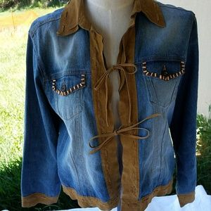 Chicos Denim and Leather Jacket M