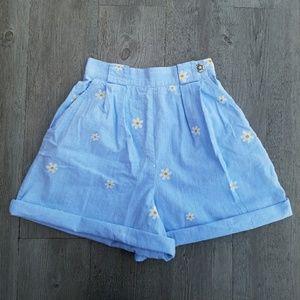 Vintage Pants - Vintage Denim Pleated High Waisted Daisy Shorts