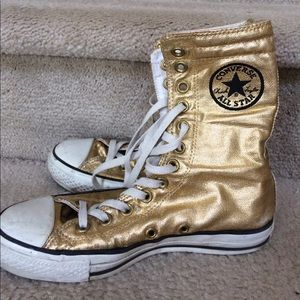 Shoes - Gold Metallic Converse