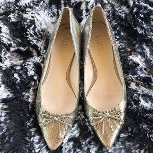 Barneys New York Shoes - Barneys New York Pointy Metallic Flats With Bow