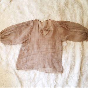 Alberta Ferretti Tops - Alberta Ferretti Gauze Sheer Linen Dolman Sleeve