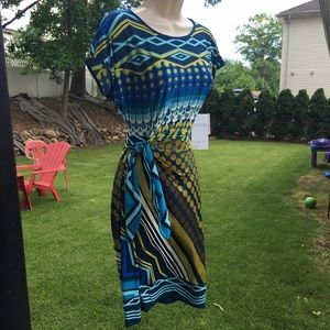Donna Morgan Dresses & Skirts - Donna Morgan Blue Green Side-Tie Dress Size 2