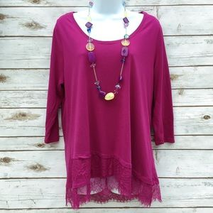 Lane Bryant Fuchsia Tunic Top with Lace Detail
