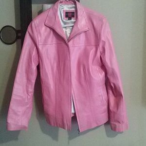 Gallery Jackets & Blazers - Gallery Pink Leather Jacket sz Small