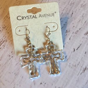 BRAND NEW!! Silver & gold hammered cross earrings