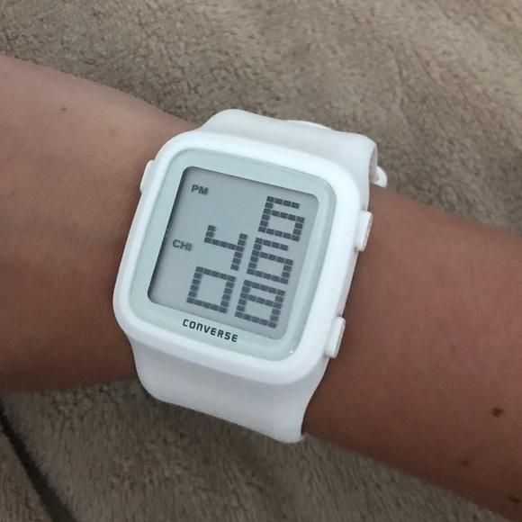496b0fff39e839 Converse Accessories - White Converse Digital Scoreboard Watch
