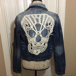1st Kiss Jackets & Blazers - Embroidered Skull Denim Jacket