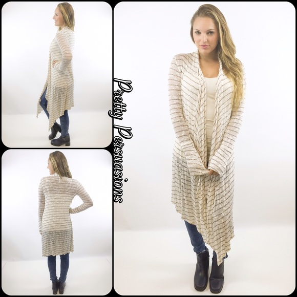Pretty Persuasions - SOLD OUT‼ NWT Cream Striped Maxi Cardigan ...
