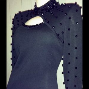 Vintage 80s Black Beaded Formfit Pencil Dress