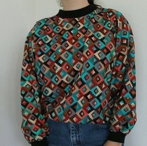 Vintage  Aztec Print long sleeve top