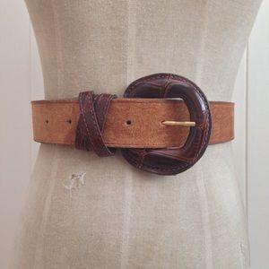 Vintage Accessories - [Vintage] Suede Belt Faux Alligator Buckle [Boho]