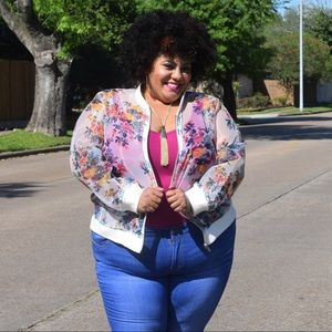 Ashley Nell Tipton Jackets & Blazers - Floral mesh Bomber