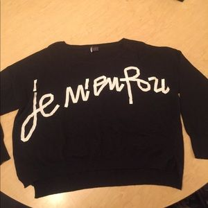 Sparkle & Fade Sweaters - Black sweater with white lettering