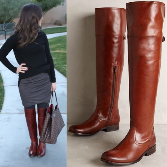 Frye Shoes Sale Melissa Over The Knee Boots Cognac