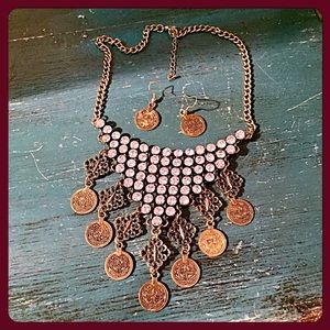 boutique Jewelry - ✨Stunning Crystals & Coins Necklace & Earrings✨
