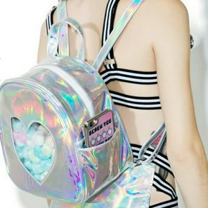 Handbags - New Silver Holographic Heart Backpack