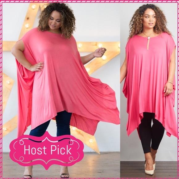 074664bd383 HP 6 21 Plus Size Handkerchief Hem Poncho Top