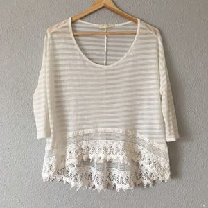Nordstrom Painted threads High Low Cropped blouse