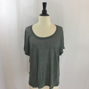 Vince Tops - Loose fit linen green Tee from Vince
