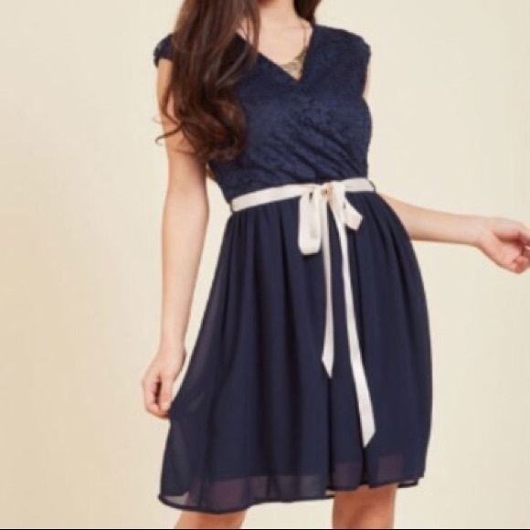 Plus Size Dress in Navy Blue and Pink - Modcloth NWT
