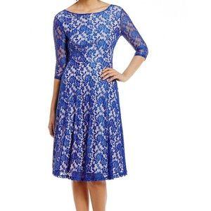 Sangria Dresses & Skirts - NWOT-Sangria Tea-Length Midi Lace Fit-and-Flare Dr