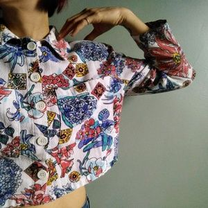 vintage 90's floral cropped cotton blouse