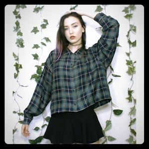 No Brand Tops - 🐉Green Plaid Long Sleeve Top!🐉