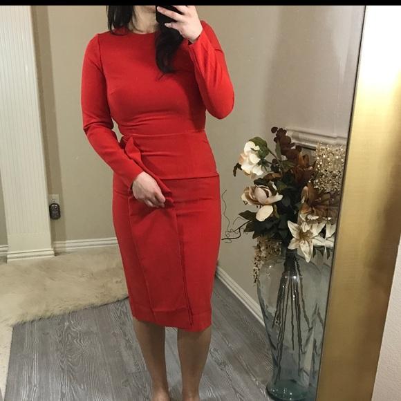 1303b887aa H&M Dresses   Nwt H M Red Long Sleeve Ruffle Midi Dress 8   Poshmark