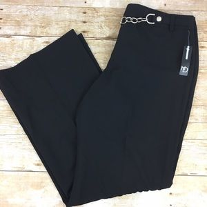 new directions Pants - Black Dress Pants with Chain Belt NWT size 12