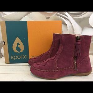 Sporto Womens Ankle Boots Moccasin Joy Mauve Pink