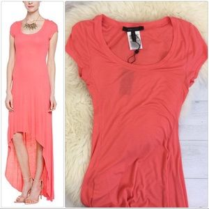 Coral BCBGMAXAZRIA High-Low Maxi Dress NWT