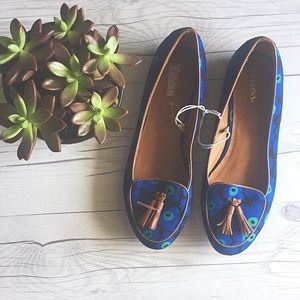 Shoes - Blue Floral Loafers
