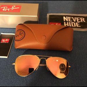 Rose gold rayban aviator sunglasses size 58