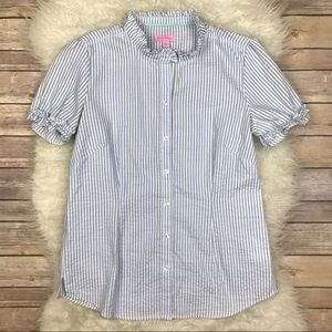 Lilly Pulitzer Tops - Lilly Pulitzer Seersucker Ruffle Button Up Blouse
