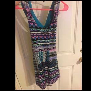 Tribal pattern skater dress with crisscross back
