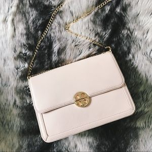 Tory Burch Handbags - Tory Burch Blush + Gold Large Duet Shoulder Bag