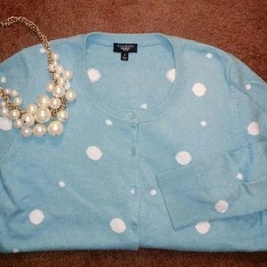 TALBOTS Polka Dot Charming Cardigan in Turquoise