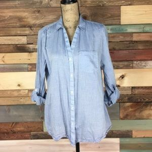The Limited Tops - The Limited Light Blue & Thin Stripe Button Down