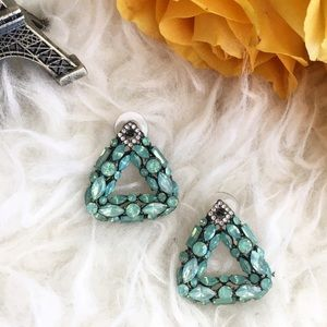 Jewelry - Teal green rhinestone statement earrings